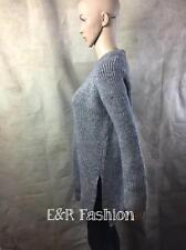 Zara Grey Chunky Knit Jumper With Side Slits Size Large B3 Ref 0367 841