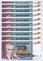 YUGOSLAVIA 5 MILLION 5,000,000 DINARA 1993 P 121 UNC LOT 10 PCS