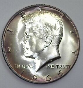 1965-SMS KENNEDY SILVER 50 CENTS PERFECT SPECIMEN SOFT TONING!!