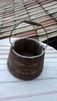 !Antique Primitive Old Wooden Wood Bucket / Keg /Vessel 19th