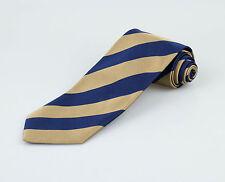 New. E. MARINELLA NAPOLI Men's Navy Blue/Gold Striped 100% Silk Neck Tie $275