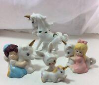 4 Vintage Unicorn Figurines Christmas Birthday Cake Topper Boy Girl Twins Bunny