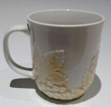 Culinary Arts Coffee Mugs Sonoma Stonewear Grape Leaves White Tan Autumn Harvest