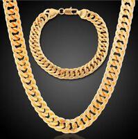 10MM Men's 18k Gold Plated Cuban Chain Necklace Bracelet Hip Hop Jewelry Set
