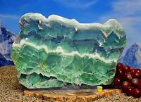 Huge RAINBOW FLUORITE Polished slab slice FREE STAND  1472g / 273mm - MYANMAR