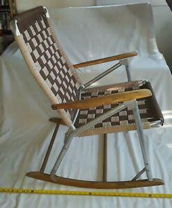Vintage The Telescope Folding Furniture Co. Rocking Chair Lawn Rocker.