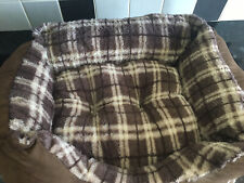 Brown Check Soft Small Puppy Dog Bed