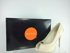 Karen Millen Womens Off White Leather With Open Toe Pumps 38.5