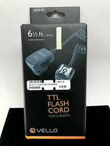 Vello Off-Camera TTL Flash Cord for Canon Cameras (6.5') New