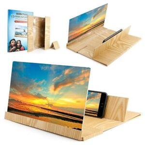 "12"" 3D Phone SCREEN MAGNIFIER Mobile Stereoscopic Amplifier Stand Wood Desktop"