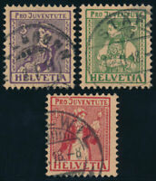 SCHWEIZ 1917, MiNr. 133-135, 133-35, sauber gestempelt, Mi. 110,-