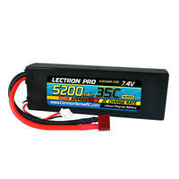 NEW Lectron Pro 2S 7.4V 5200mAh 35C LiPo Battery w/Deans Connnector FREE US SHIP