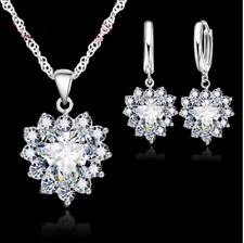 925 Sterling Silver Filled Heart Shape white Crystal Jewellery Sets.