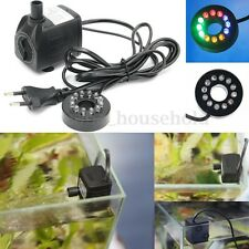 420L/h Submersible Tabletop Fountain Aquarium Pond Water Pump LED Ligh Changing