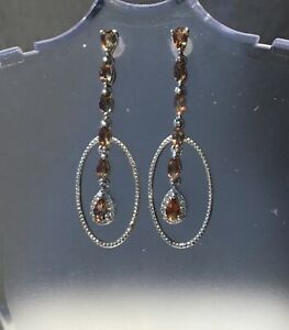 NEW Natural Trichroistic Andalusite & Zircon Linked For Life Earrings, Platinum