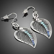 Azul Brillante Cristal Estrás Gota Colgante Austria Hojas Diseño Pendientes para Mujer