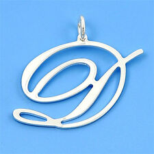 Alphabet Italian Initial Pendant Silver 925 A to Z Jewelry Gift Large Letter D
