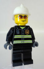 LEGO City Minifig Fireman Chief w/White Hat Helmet Head w/Glasses Gray Hands