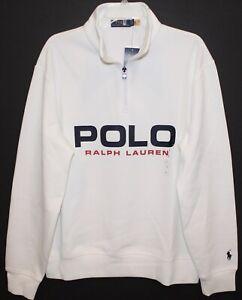 Polo Ralph Lauren Mens Blue White 1/2 Zip Pullover Sweatshirt NWT $125 Size L