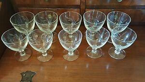 Bicchieri antichi fine 1800 in cristallo soffiato a mano, molati a mano 10 pezzi