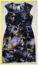 NWT $1050 PIAZZA SEMPIONE BLUE BLACK MARBLE PRINT SILK SHEATH DRESS IT 46 8 10 M