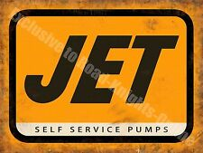 Jet Petrol, Self Service Pumps Old Vintage Garage Station, Small Metal/Tin Sign
