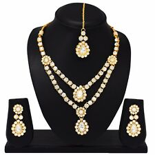 Indian Bollywood Fashion Wedding Gold Tone Necklace Earrings Bridal Jewelry Set