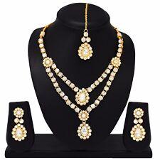 Indische Bollywood Mode Hochzeit Gold überzogene Halskette Set Brautschmuck 1783