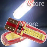 2 Lampade T10 24 Led SMD Canbus Luci BIANCO Gel Silica COB Posizione Super White