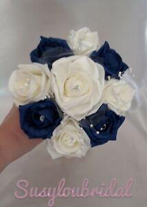NAVY BLUE AND IVORY  Wedding Flowers Bridesmaids Bouquet Wand Ball Sprays