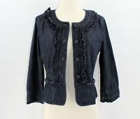 ANN TAYLOR LOFT Jacket Size 6 Cropped ¾ Sleeve Blue Jean Denim Ruffles Lined
