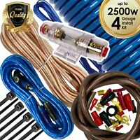 Audiotek 4 Gauge Amp Kit Amplifier Install Wiring Complete 4 Ga Wire 2500W Blue
