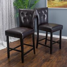(Set of 2) Contemporary Brown Leather Counter Stool