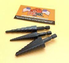 Drill Hog® 3 Pc Step Drill Bit Set UNIBIT Pig Steel M60 1/4 Hex Shank Impact