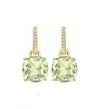 Custom Design 14K Gold Green Amethyst and Diamonds Earrings For Anniversary Gift