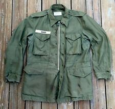 Vtg 50's Korea War Field Jacket Coat Talon Zip Army Military OG-107 Size M.