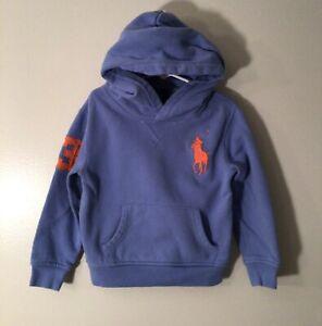 Boys Light Blue Ralph Lauren POLO Large Orange Polo Sz. 5 Hooded Sweatshirt