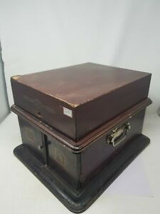 Antique His Master's Voice Suitcase Gramophone With Wooden Box ,England NH5497