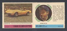 1968 AMERICAN OIL SWEEPSTAKES CARD BABE RUTH CORVETTE WINNER'S CIRCLE ~ SHARP