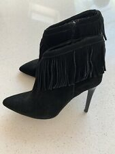 M&S Autograph Insolia Black Suede Fringed Heeled Boots Uk6 / 39