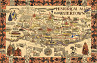 Early Historical Map of Watertown NY 1630-1930 Wall Art Poster 11'x16' History