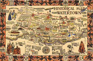 """Early Historical Map of Watertown NY 1630-1930 Wall Art Poster 11""""x16"""" History"""