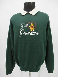 P5660 VTG Winnie The Pooh Best Grandma Embroidered Collared Sweatshirt Size XL