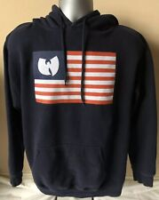 Vtg Wu-Tang Clan LTD Flag Hoodie Mens L Blue Rap USA Made!