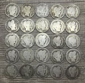 Barber Dime Lot ~ Mixed Dates ~ 25 Silver Coins 1/2 Roll (B900)
