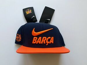 Nike F.C Barcelona True Snapback Cap Hat NAVY ORANGE