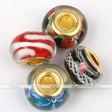 25pc Glazed Tube Loose Bead Multi Color Lampwork Glass Large Hole European