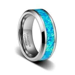 8mm Mens or Woman Tungsten Carbide Hawaiian Opal Blue Inlay Wedding Band Ring