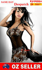 Black Women Lace Sexy Lingerie T-Back Flowers Pattern Mini Dress Baby Doll 6-12