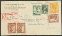 COLOMBIA 1938 CALI REGISTERED TO SWITZERLAND SEE BOTH SCANS ONE STAMP TORN BIN£5